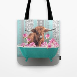 Highland Cow with turquoise Bathtub and Lotos Flowers Tote Bag