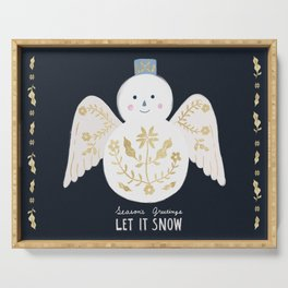 Holiday Flower Snowman Serving Tray