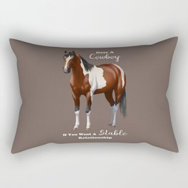 Date a Cowboy Stable Relationship Bay Paint Horse Rectangular Pillow