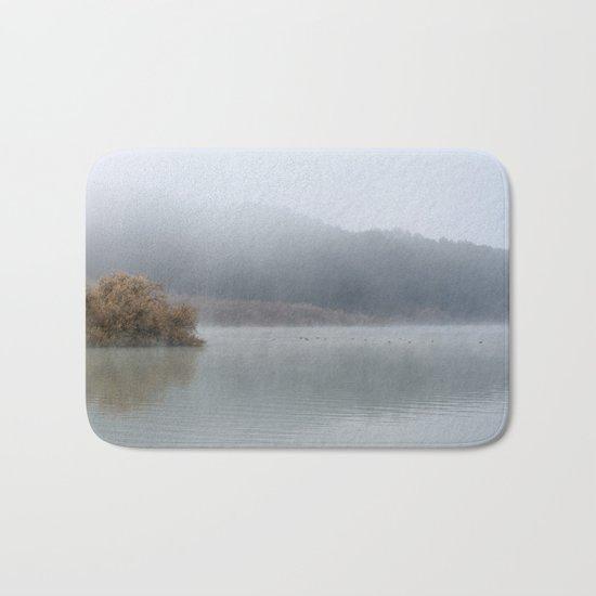 Wilderness lake. Foggy sunrise Bath Mat