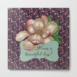 Paisley Magnolia Flower Metal Print