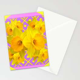 Golden Yellow Daffodils Bouquet Garden Lilac Art Stationery Cards