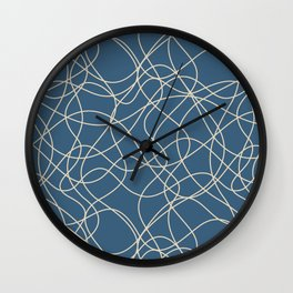 Beige Scribbled Lines Abstract Hand Drawn Mosaic on Blue - 2020 Color Of The Year Chinese Porcelain Wall Clock