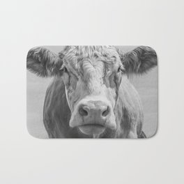 Animal Photography | Cow Portrait Black and White | Farm Animals Bath Mat