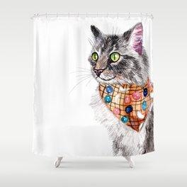 Blue Tabby Cat with Bandana Shower Curtain
