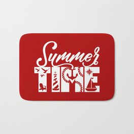 Summer TIME Nautical Solid Red, Seagull, Lounge Chair, Lighthouse, Anchor, Rope, Compass, Sail Boat Bath Mat