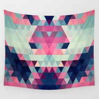 donkey Wall Tapestries featuring Abstract Triangle Donkey by Rain Carnival