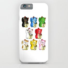 Maneki neko right paws with gold coin iPhone Case