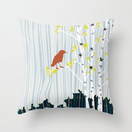 bird in birch Throw Pillow