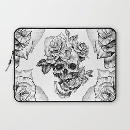 Black and White skull with roses pen drawing Laptop Sleeve
