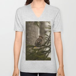 A bohemian waxwing on a pine tree branch Unisex V-Neck