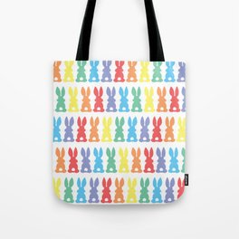 Rainbow Easter Bunny Silhouette Parade Tote Bag