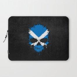 Flag of Scotland on a Chaotic Splatter Skull Laptop Sleeve