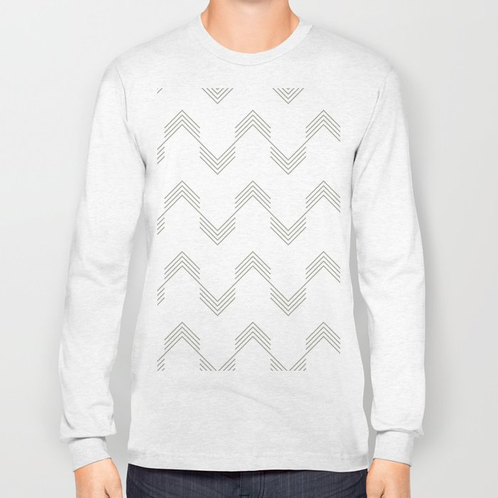 Simply Deconstructed Chevron Retro Gray on White Long Sleeve T-shirt