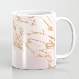 Blush pink abstract gold glitter marble Coffee Mug