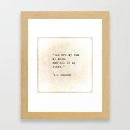 EE Cummings, Sun Moon Stars Quote, Love Framed Art Print