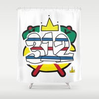 blackhawks Shower Curtains featuring Chicago Pride Blackhawks by TyRex Creations