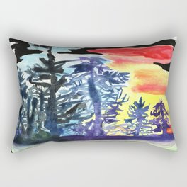 Tree line Ship on the Darkest Night covered in colors and drenched in Swag Rectangular Pillow