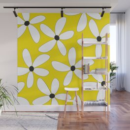Happy flowers Yellow Wall Mural