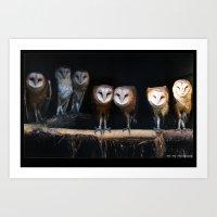 Owls the family Art Print