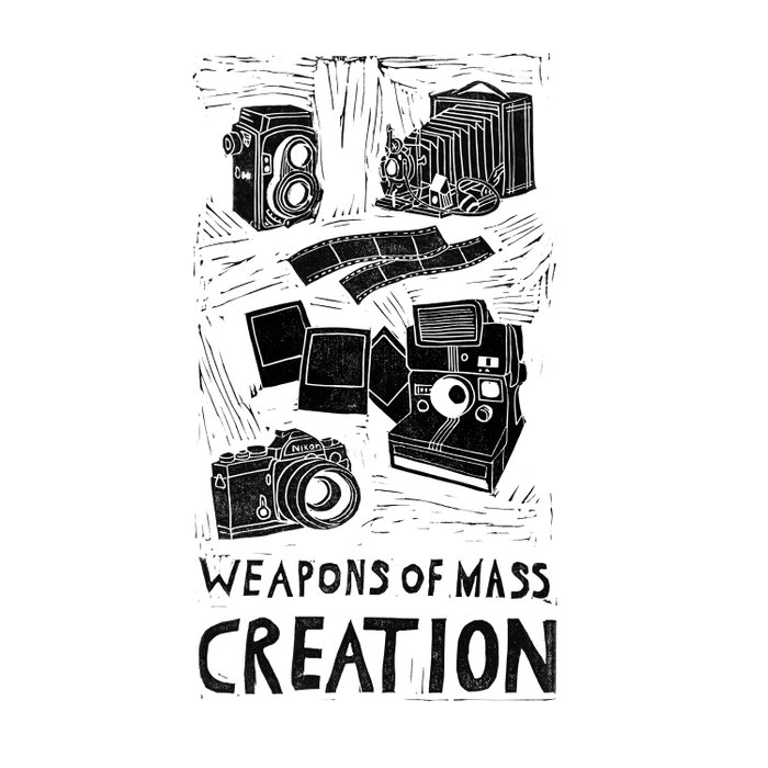 Weapons Of Mass Creation - Photography (blockprint) Comforters