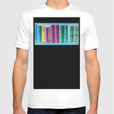 Library Wisdom White Mens Fitted Tee MEDIUM