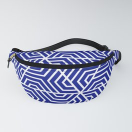 Phthalo blue - blue - Geometric Seamless Triangles Pattern Fanny Pack