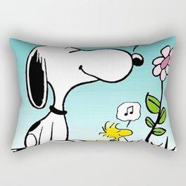 snoopy music flower dreams heaven Rectangular Pillow
