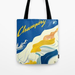Vintage Champery Switzerland Travel Tote Bag