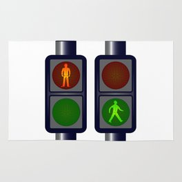 Walking Man Traffic Lights Rug