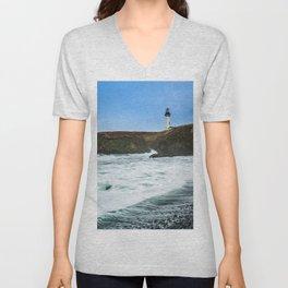 Receding waves at Yaquina Head Lighthouse in Newport, Oregon Unisex V-Neck