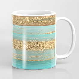 Turquoise Brown Faux Gold Glitter Stripes Pattern Coffee Mug
