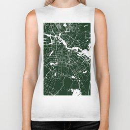 Amsterdam Green on White Street Map Biker Tank
