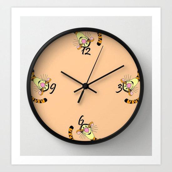 Tigger clock Art Print