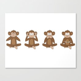 Four Wise Monkeys Canvas Print