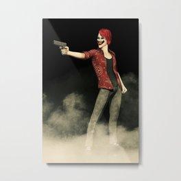 Killer Clown Pointing a Gun Artwork Metal Print