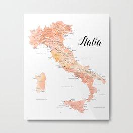 Rose gold Italy map in watercolor Metal Print