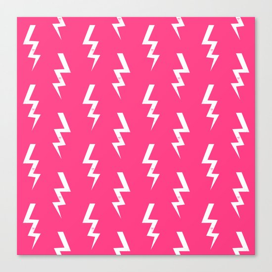 Bolts lightening bolt pattern pink and white minimal cute patterned gifts Canvas Print