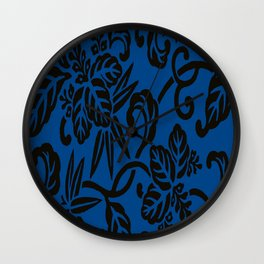 Antique Japanese Pattern : Navy Blue Wall Clock