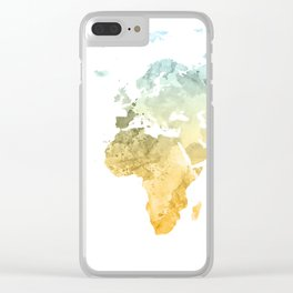 World Map Watercolor #3 Clear iPhone Case