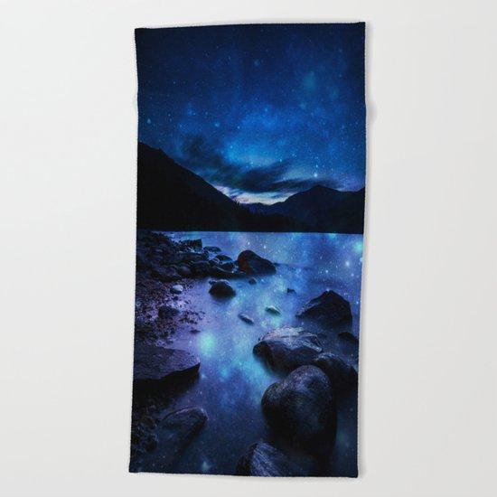 Magical Mountain Lake Dark Blue Beach Towel