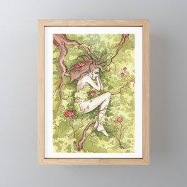 Girl in the forest Framed Mini Art Print