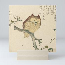 Japanese Woodcut: Owl on a Magnolia Branch Mini Art Print