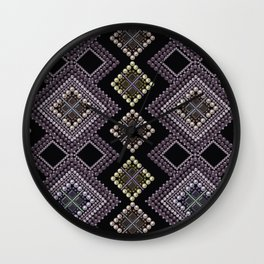 Folk beads circles ethnic pattern Wall Clock