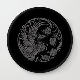 Traditional Gray and Black Chinese Phoenix Circle Wall Clock