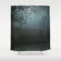 caleb troy Shower Curtains featuring Song of the Nightbird by Monika Strigel