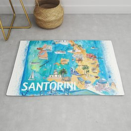 Santorini Greece Illustrated Map with Main Roads Landmarks and Highlights Rug