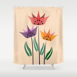 Retro tulips Shower Curtain