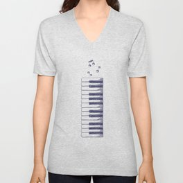 Piano Keys Keyboard Vintage Gifts Unisex V-Neck