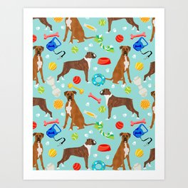 Boxer terrier dog breed pet portrait dog toy cute pet art animal fur baby boxer owner must have gift Art Print